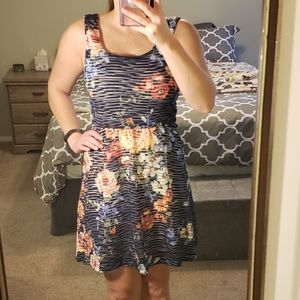 Blue and floral asymmetric dress size small